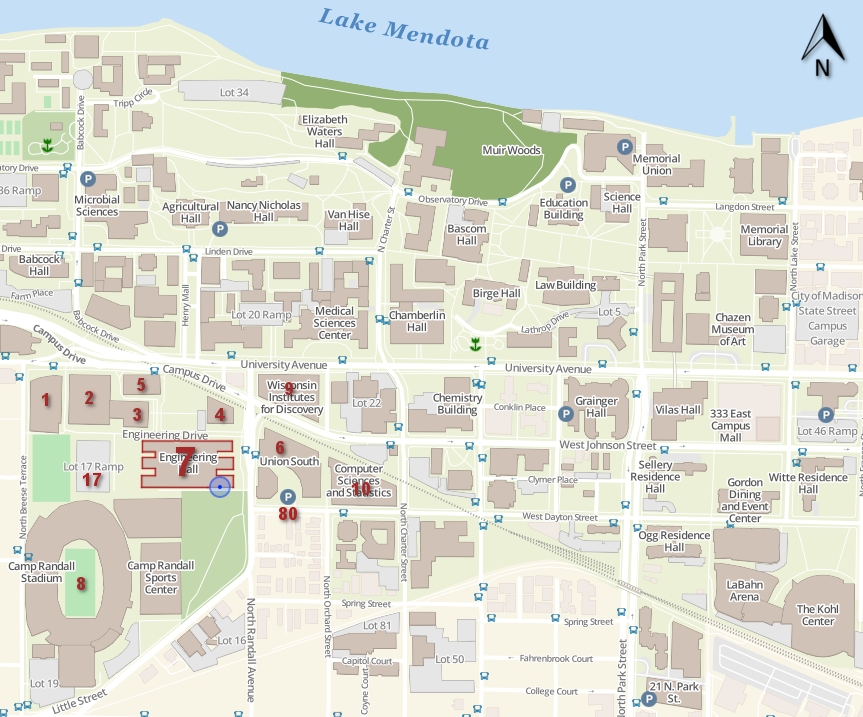 Campus Map Uw Madison Location and Parking – Traffic Operations and Safety Laboratory