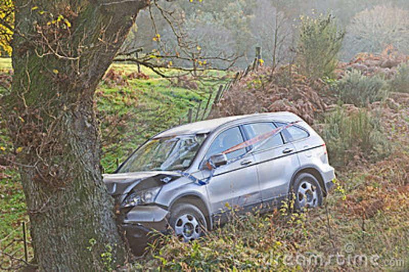 Car crashed into tree.