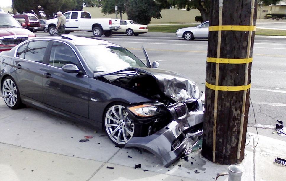 Car crashed into telephone pole.