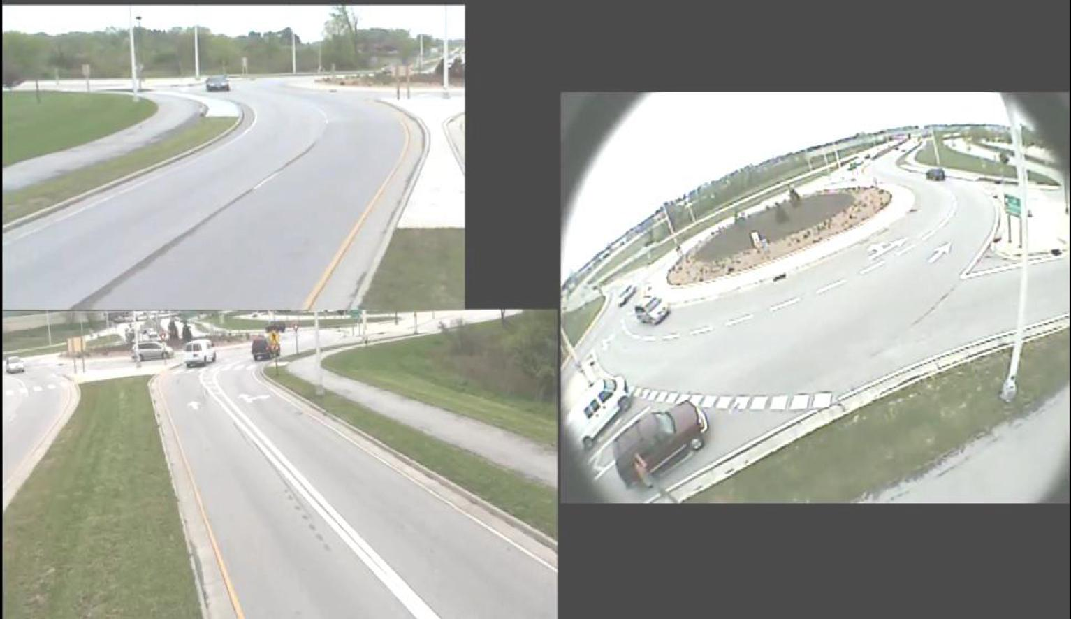 Traffic camera view of roundabout